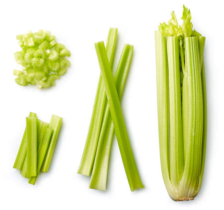 Fresh sliced celery isolated on white background. Top view 스톡 콘텐츠