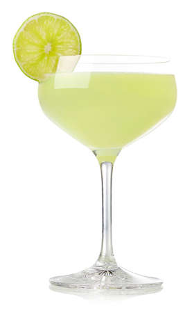 Glass of classic lime daiquiri cocktail isolated on white background