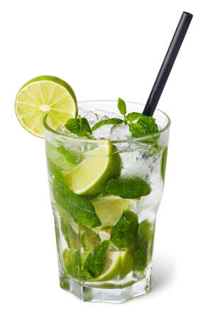 Glass of Mojito cocktail isolated on white background