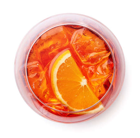 Glass of Aperol spritz cocktail isolated on white background. Top view