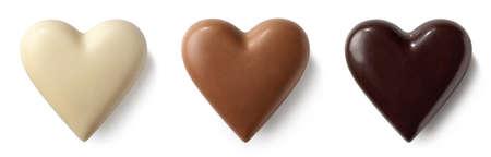 3 초콜릿 (우유, 어두운 및 흰색) 마음 흰색 배경에 고립. 평면도 스톡 콘텐츠 - 96570154