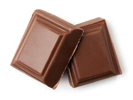 白い背景に分離されたミルクチョコレートの2枚。トップ ビュー 写真素材