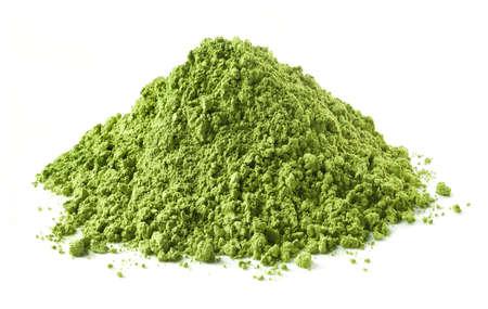 Heap of green matcha tea powder isolated on white background