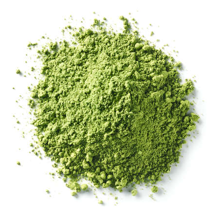Heap of green matcha tea powder isolated on white background. Top view