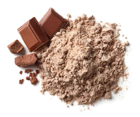 Heap of brown chocolate protein powder isolated on white background. Top view