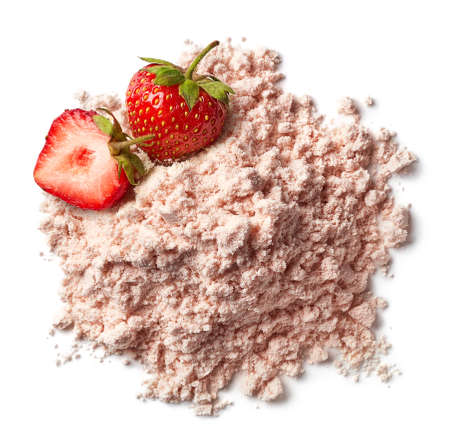 Heap of pink strawberry protein powder isolated on white background. Top view Stock Photo