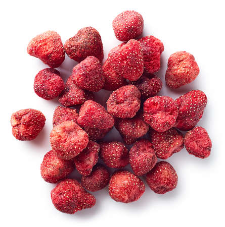 Heap of freeze dried strawberries isolated on white background. Top view Foto de archivo - 107594319
