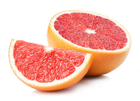 Half and slice of perfectly retouched grapefruit isolated on white background