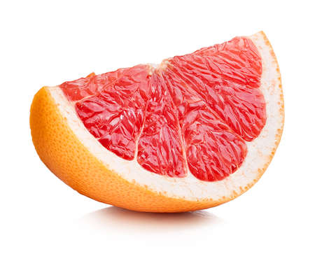 Perfectly retouched grapefruit slice isolated on white background