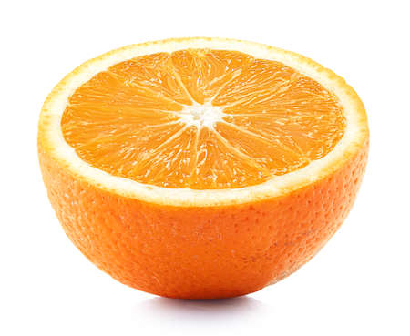 Half of perfectly retouched orange fruit isolated on white background Imagens