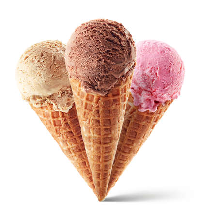 Chocolate, strawberry and caramel ice cream with cone isolated on white background. Three different flavors