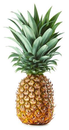 Fresh whole pineapple isolated on white background
