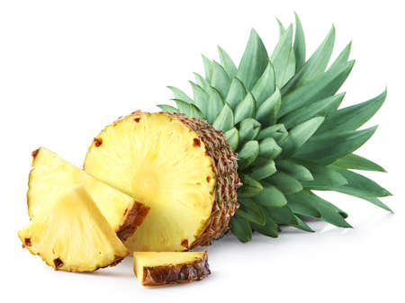 Half and sliced fresh pineapple fruit isolated on white background 写真素材