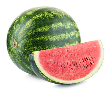 Whole and slice of ripe watermelon isolated on white background