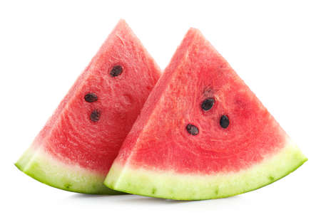 Two slices of ripe watermelon isolated on white background Foto de archivo