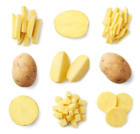 Set of fresh whole and sliced potatoes isolated on white background. Top view Zdjęcie Seryjne - 110914550