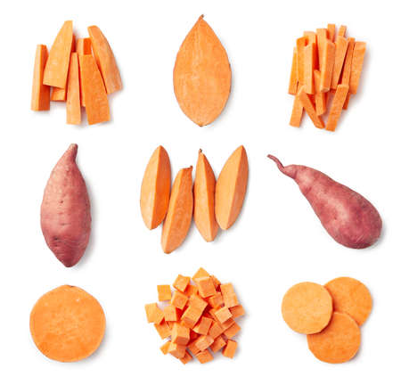 Set of fresh whole and sliced sweet potatoes isolated on white background. Top view Stockfoto