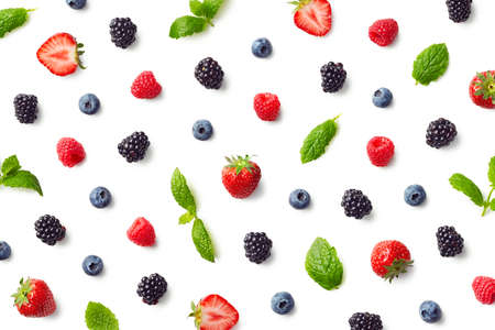 Fruit pattern of colorful berries and mint leaves isolated on white background. Top view. Flat lay Reklamní fotografie - 113377296