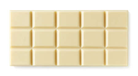 Ganze weiße Tafel Schokolade isoliert auf weiß Standard-Bild