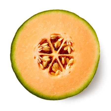 Hälfte der Melone isoliert auf weißem Hintergrund, Ansicht von oben