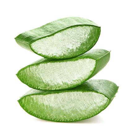 Fresh sliced Aloe Vera leaf isolated on white Imagens