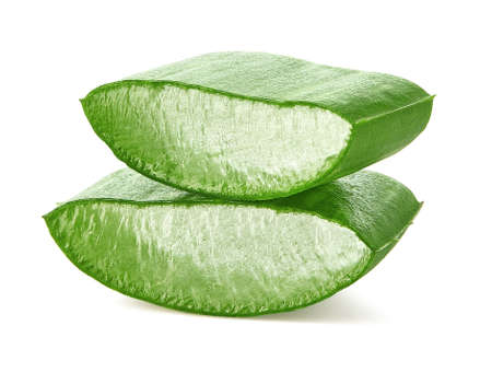 Two pieces of fresh sliced Aloe Vera leaf isolated on white Stock Photo