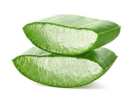 Two pieces of fresh sliced Aloe Vera leaf isolated on white Zdjęcie Seryjne