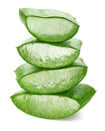 Fresh sliced Aloe Vera leaf isolated on white Stok Fotoğraf - 118903884