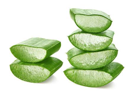 Fresh sliced Aloe Vera leaf isolated on white 스톡 콘텐츠