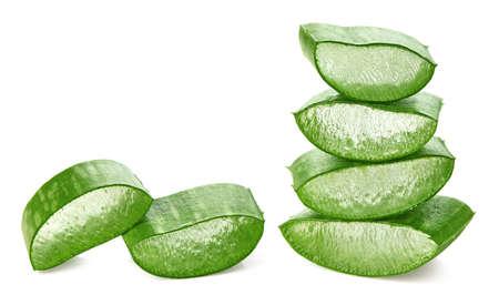 Fresh sliced Aloe Vera leaf isolated on white Stock Photo