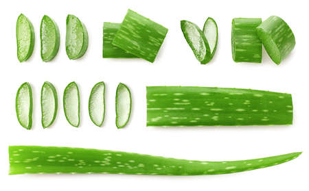 Fresh sliced Aloe Vera leaf isolated on white background, top view Фото со стока