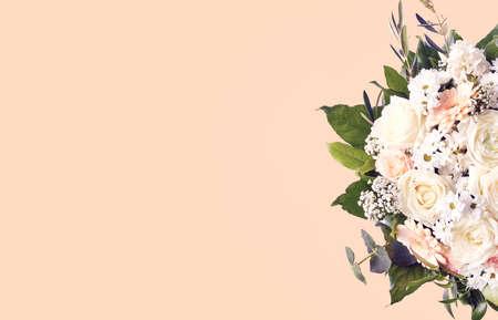 Beautiful wedding bouquet on pink pastel