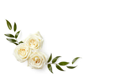 Beautiful flowers composition made of roses isolated on white