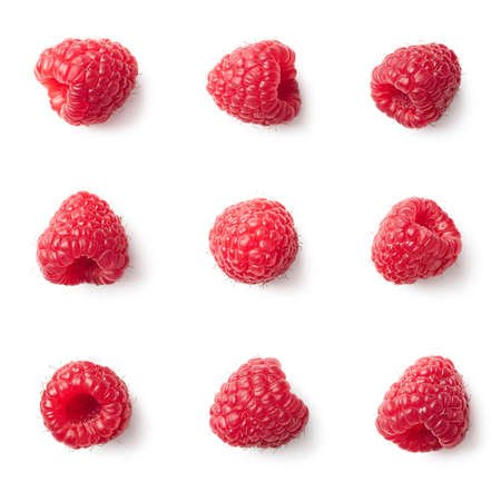 Set of various raspberries isolated on white background. Top view Banco de Imagens