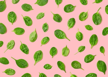 Colorful pattern of fresh spinach leaves on pink background. Top view Banco de Imagens