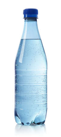 Light blue bottle of sparkling water isolated on white background