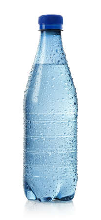 Light blue bottle of cold water with drops isolated on white background