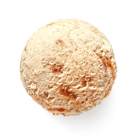 One single caramel ice cream ball or scoop isolated on white background. Top view Banco de Imagens