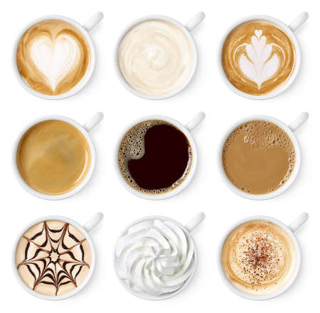 Set of different coffee types isolated on white Banco de Imagens