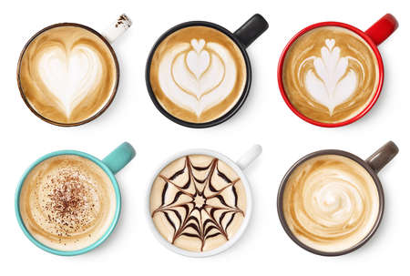 Set of six various coffee latte or cappuccino foam art isolated on white