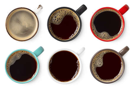 Set of various colorful cups of black coffee isolated on white Banco de Imagens