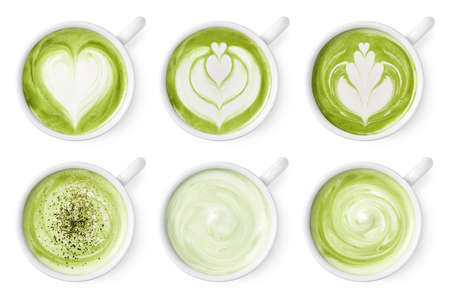 Set of green tea matcha latte foam art isolated on white