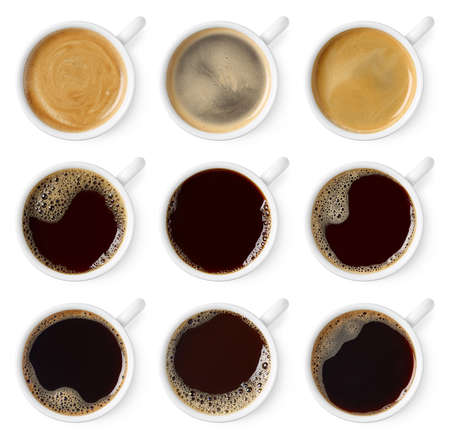 Set of black coffee cups isolated on white