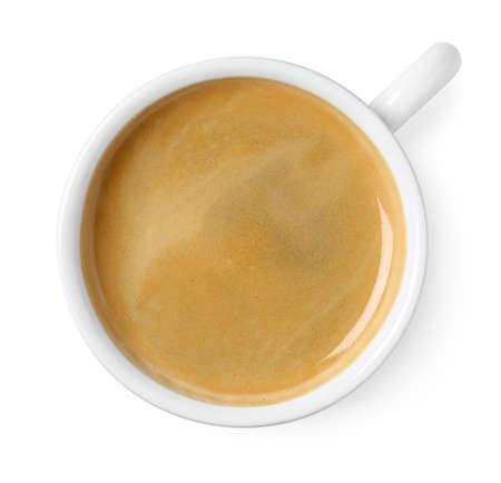 Tasse schwarzen Kaffee isoliert auf weißem Hintergrund, Ansicht von oben