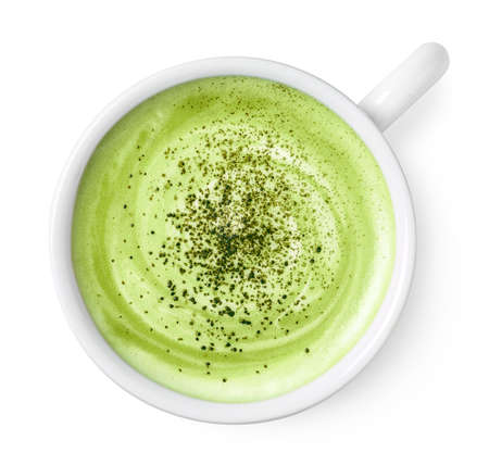 Cup of green tea matcha latte  isolated on white background, top view