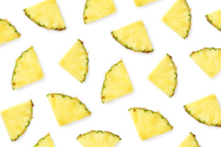 Pattern of pineapple slices isolated on white