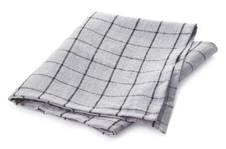 Folded light grey checkered cotton napkin isolated on white background