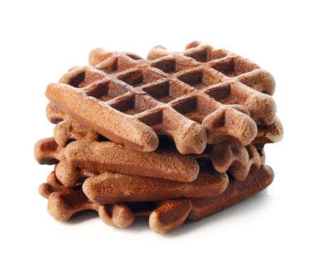 Chocolate belgium waffles isolated on white background
