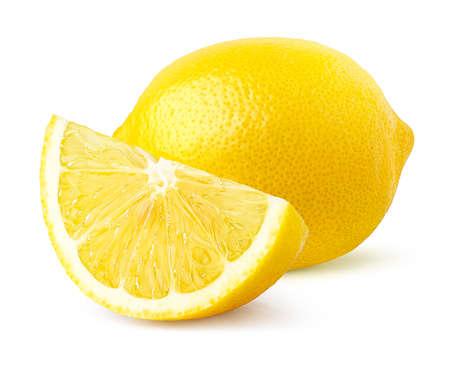 Whole and half of fresh ripe lemon fruit isolated on white background Imagens