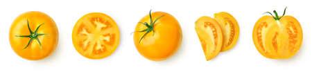 Fresh ripe yellow tomato isolated on white background, top view